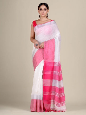 White and Pink Linen handwoven saree 0