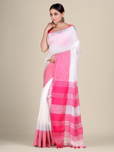White and Pink Linen handwoven saree 1