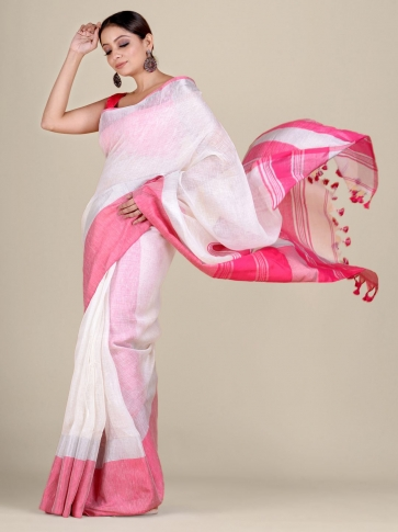 White and Pink Linen handwoven saree