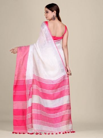 White and Pink Linen handwoven saree 2