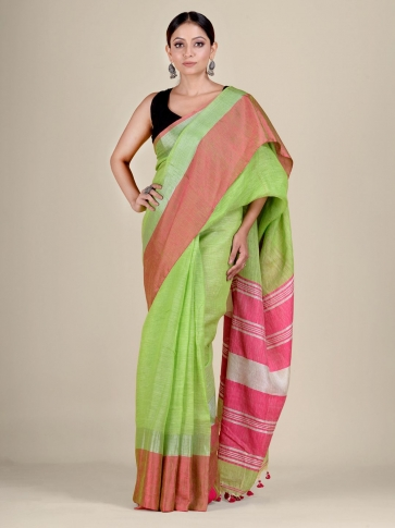 Green and Pink Linen handwoven saree 1