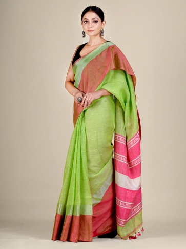 Green and Pink Linen handwoven saree
