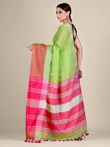 Green and Pink Linen handwoven saree 0