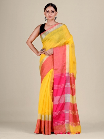 Yellow and Pink Linen handwoven saree 0