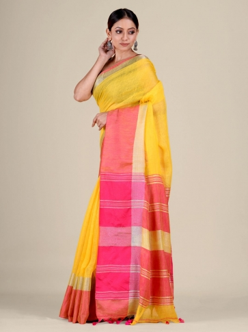 Yellow and Pink Linen handwoven saree 1