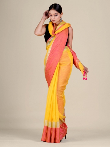 Yellow and Pink Linen handwoven saree