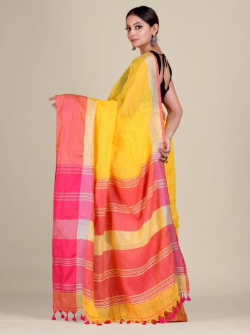 Yellow and Pink Linen handwoven saree 2