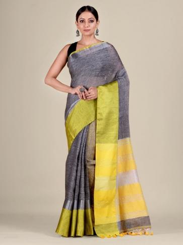 Grey and Yellow Linen handwoven saree