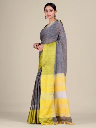 Grey and Yellow Linen handwoven saree 1