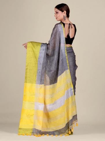 Grey and Yellow Linen handwoven saree 2