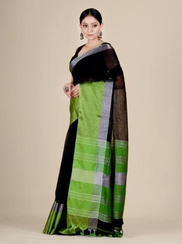 Black and Green Linen handwoven saree