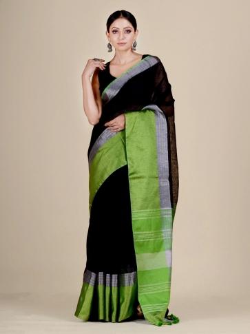 Black and Green Linen handwoven saree 0