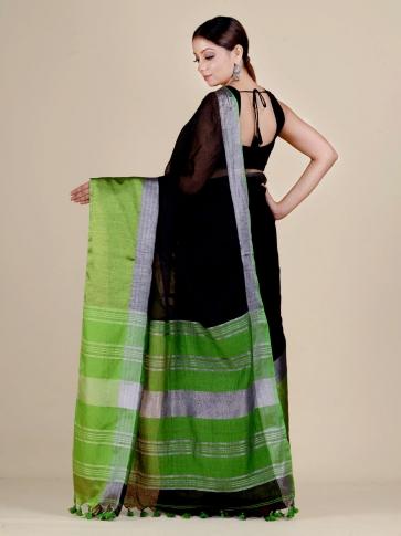 Black and Green Linen handwoven saree 2