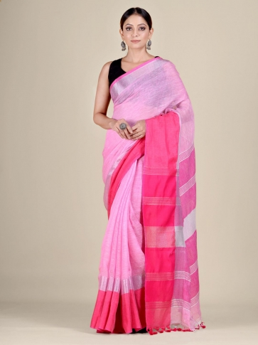 Pink and Red Linen handwoven saree