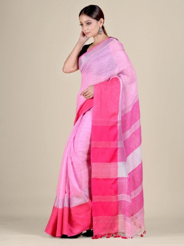 Pink and Red Linen handwoven saree 1