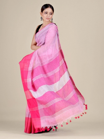 Pink and Red Linen handwoven saree 0