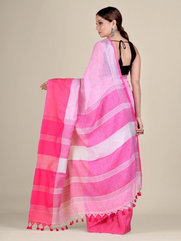 Pink and Red Linen handwoven saree 2