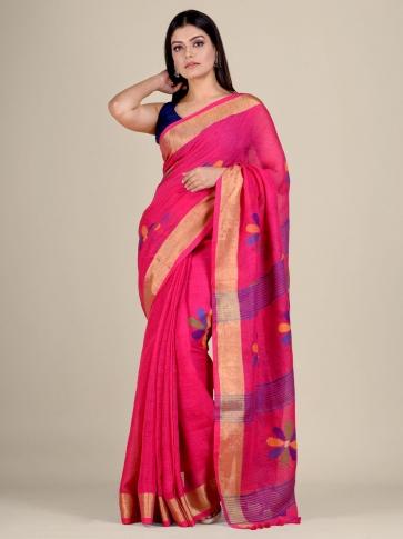 Pink handwoven Linen saree with zari work 1