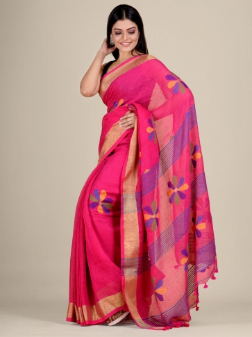 Pink handwoven Linen saree with zari work 2