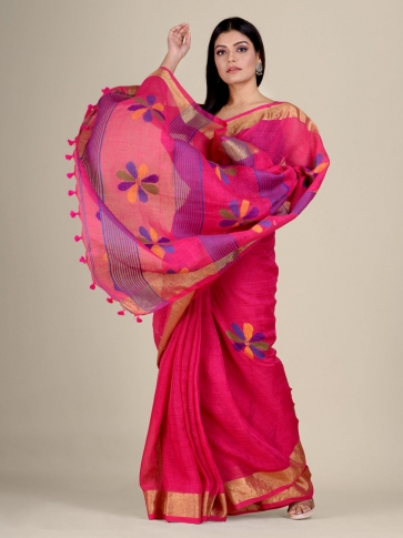Pink handwoven Linen saree with zari work