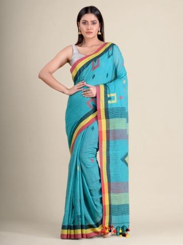 Green soft Cotton handwoven saree with geomatric design