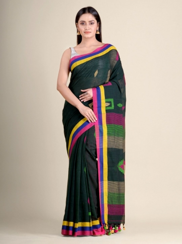 Bottle Green soft Cotton handwoven saree with geometric design 0