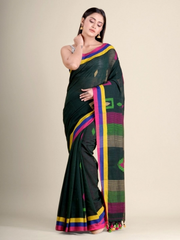 Bottle Green soft Cotton handwoven saree with geometric design 1