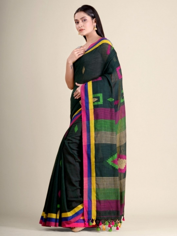 Bottle Green soft Cotton handwoven saree with geometric design 2