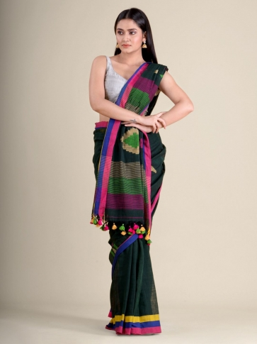 Bottle Green soft Cotton handwoven saree with geometric design