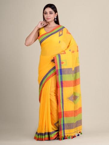 Yellow soft Cotton handwoven saree with geomatric design 0