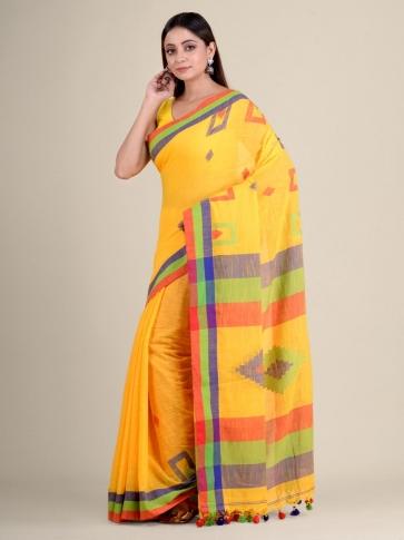 Yellow soft Cotton handwoven saree with geomatric design 1