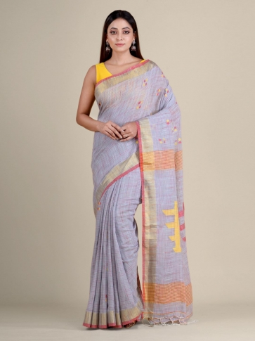 Mauve soft Cotton handwoven saree