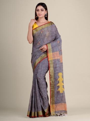 Grey soft Cotton handwoven saree 1