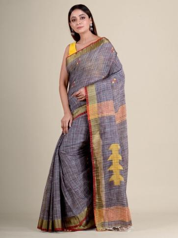 Grey soft Cotton handwoven saree 2