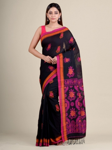 Black soft Cotton handwoven saree with floral design
