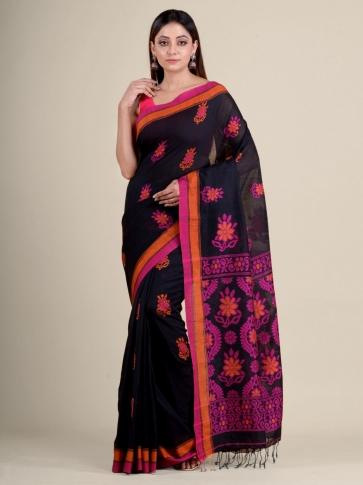 Black soft Cotton handwoven saree with floral design 1