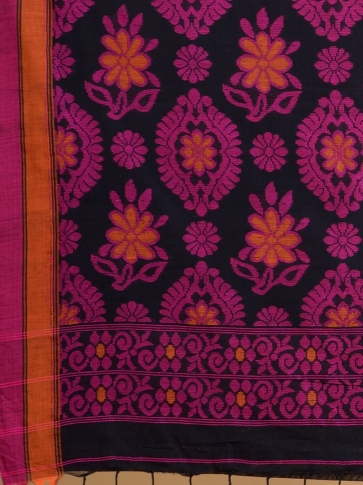 Black soft Cotton handwoven saree with floral design 0