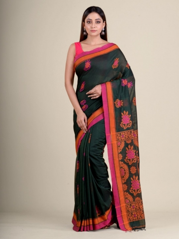 Green soft Cotton handwoven saree with floral design