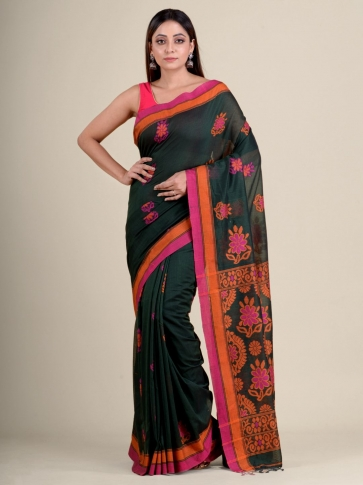 Green soft Cotton handwoven saree with floral design 1