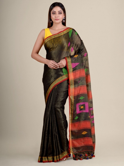 Green soft Cotton handwoven saree with temple border 0