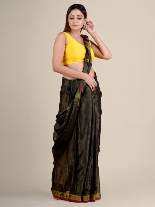 Green soft Cotton handwoven saree with temple border