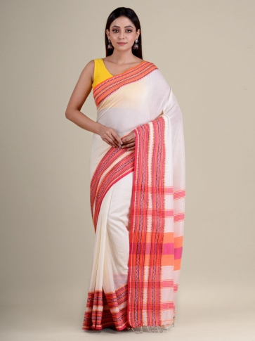 White soft Cotton handwoven saree with duel border