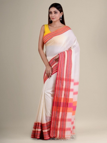 White soft Cotton handwoven saree with duel border 2