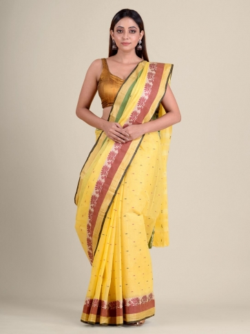 Yellow handwoven cotton tant saree with tree design