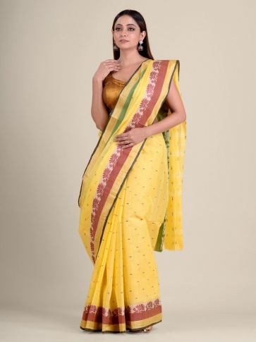 Yellow handwoven cotton tant saree with tree design 0