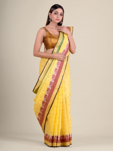 Yellow handwoven cotton tant saree with tree design 2