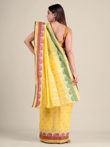 Yellow handwoven cotton tant saree with tree design 1