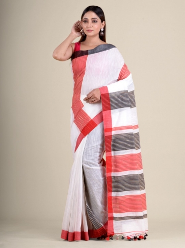 White soft Cotton handwoven saree with duel border 0