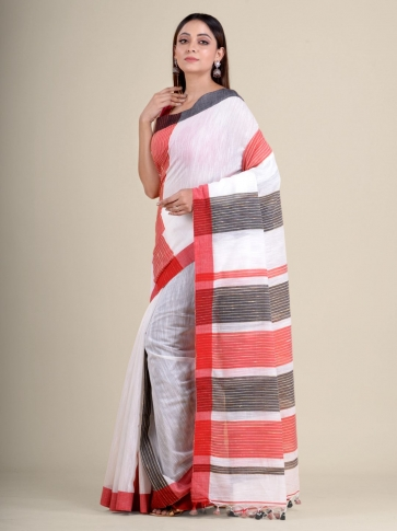 White soft Cotton handwoven saree with duel border 1