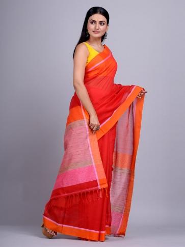 Red Silk Cotton handwoven saree with gicha in pallu 2